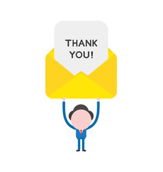 businessman character holding up thank you vector image