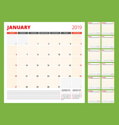calendar planner template for 2019 year week vector image