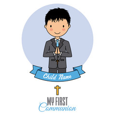 Card my first communion praying child vector