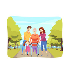 care family support health walking concept vector image