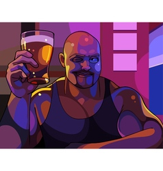 cartoon cheerful man with a glass of beer vector image