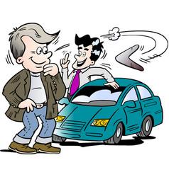 cartoon of a car seller and a customer looking at vector image