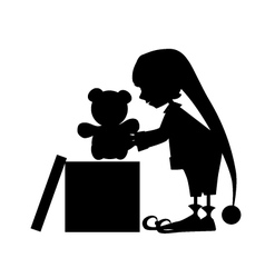 Christmas cute elf silhouette with gift vector