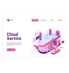 cloud service database landing page isometric vector image