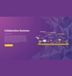 Collaboration concept for website template vector