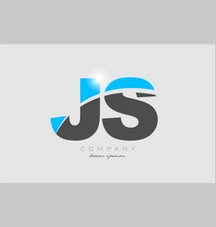 Combination letter js j s in grey blue color vector