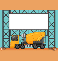 construction site with blank board and cement vector image