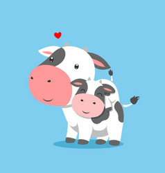 Cow is lifting his baby on his back vector