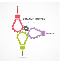 Creative light bulb and gear abstract sign vector