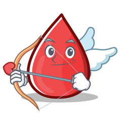 Cupid blood drop cartoon mascot character vector