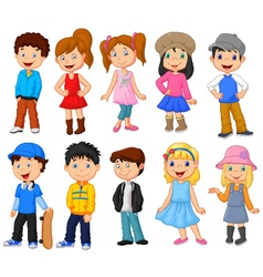Cute children cartoon collection vector