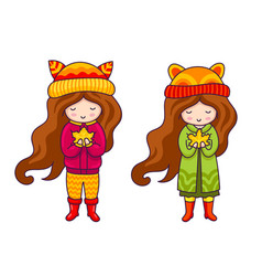 Cute little girls in autumn coat and hats vector