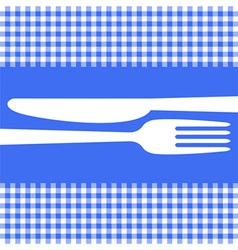 Cutlery silhouettes on blue tablecloth vector