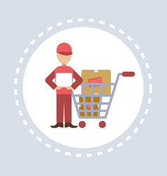 delivery man courier trolley cart shopping icon vector image