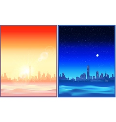 Desert night and evening vector image