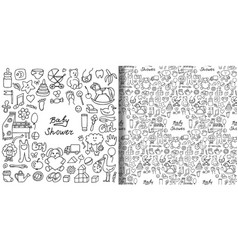 Doodle baby shower print and seamless pattern set vector
