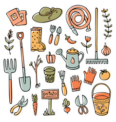 Doodle garden set tools elements and stuff vector