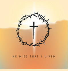 easter banner with crown thorns cross and vector image
