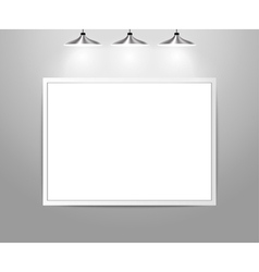 Empty gallery wall with lights vector