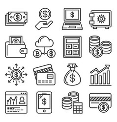 financial and investment icons set on white vector image
