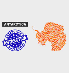 Fire mosaic antarctica continent map and scratched vector