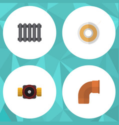 flat icon industry set of tap heater roll and vector image