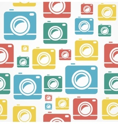 Flat seamless photo camera pattern vector image