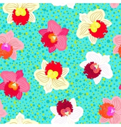 Floral tropical pattern with orchid flowers vector