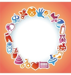 frame with kid and toys stickers vector image