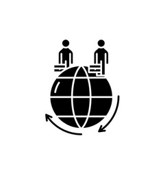 global business black icon sign on vector image