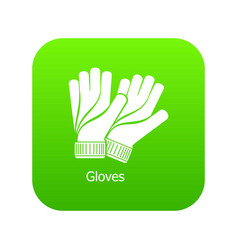 gloves icon green vector image