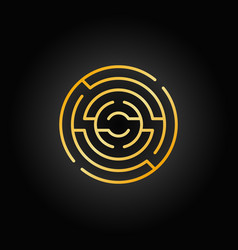gold circular maze icon vector image