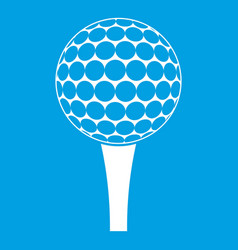 golf ball on a tee icon white vector image