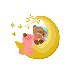 Good night card with teddy bear sleeping on the vector