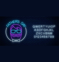 greeting card to fathers day in neon style with vector image