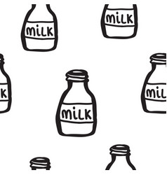 hand drawn seamless pattern with bottles of milk vector image