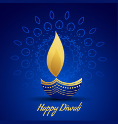 Happy diwali festival greeting with decorative vector