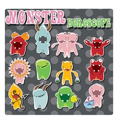 Horoscope signs with cute colorful monsters vector image