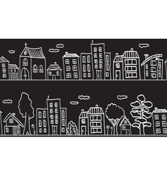 houses and buildings - small town vector image