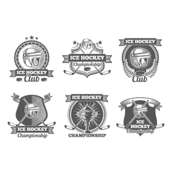 Ice hockey vintage labels logos emblems vector image