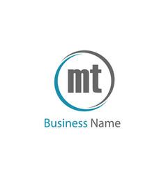 initial letter mt logo template design vector image