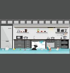 interior flooded basement flooring kitchen vector image