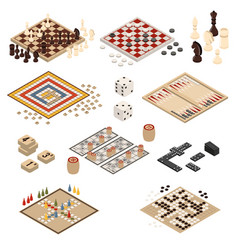 isometric board games icon set vector image
