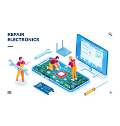 isometric page for electronics repair service vector image