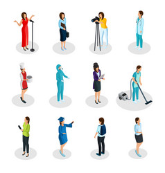 Isometric professions set vector