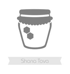 Jar of honey Rosh Hashanah icon Shana tova vector