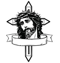Jesus christ carrying cross vector