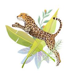 jumping jaguar in jungle nature poster design vector image