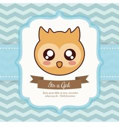 Kawaii owl Baby Shower design graphic vector image