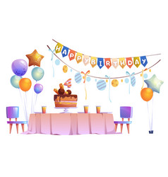 kids birthday party decoration and festive cake vector image